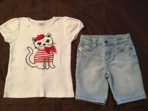 Great condition Gymboree top, Guess distressed shorts size 4T