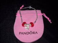 Authentic Pandora bracelet with Murano beads & heart Valentines