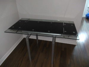 black and silver glass table