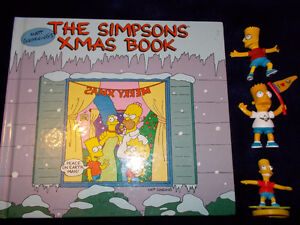 Simpson's Christmas book and 3 plastic figures