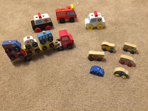 WOODEN cars, puzzle cars, and car transporter