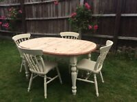 Up Cycled Farmhouse Solid Pine Table & Chairs ( Can Deliver)