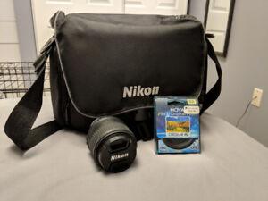 Nikon DSLR lens, digital filter and carry case