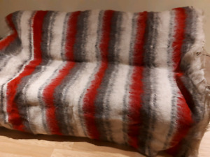 Wool sofa cover with matching small rugs