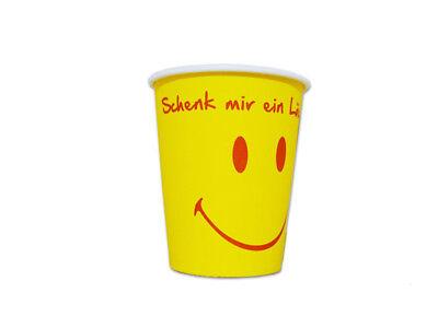 """1000 Stck. Coffee to go Becher 0 2 l mit Aufdruck """"Schenk mir ein Lächeln"""""""