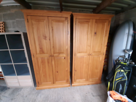 Two solid wood wardrobes