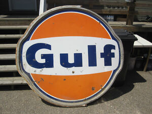 large Gulf Oil Gas Station Sign -  original with frame