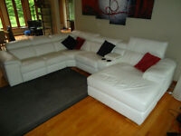 Full leather 5 piece sectional couch