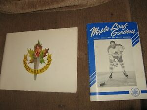 mint 1963-64 toronto maple leafs program and 1965 hall of fame