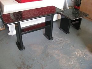 TALL COFFEE TABLE WITH MATCHING SIDE TABLE  BLACK MARBLE LOOK