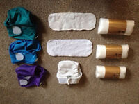 Set of 10 Little Lamb Nappies Size 1 Including Wraps and Liners