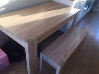 Next oak effect table with 2 benches