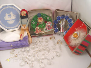 Vintage Christmas Tree and Window Decorations Prisms Elf More