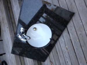 """36"""" Granite counter top with sink and faucet"""