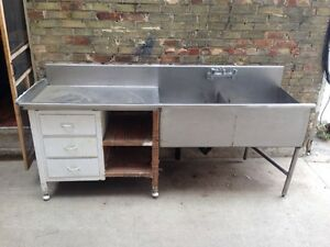 2 bin commercial sink/dish pit