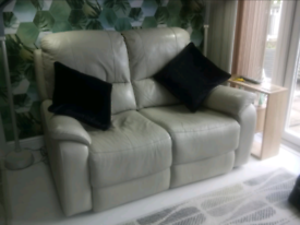 Electric recliner leather sofa