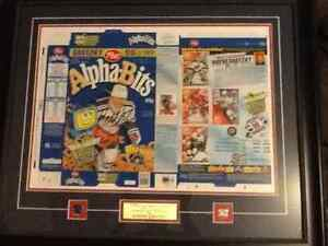 Gretzky signed and framed authentic Alpha Bits cereal box