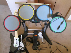 Xbox 360 Rock Band Bundle Drum Set with WIRED Stratocaster Guita