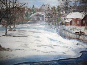"Original Oil Painting ""Skating on the stream"" Stratford Kitchener Area image 10"