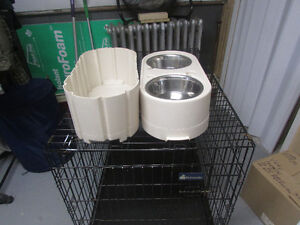 dog crate with store and feed