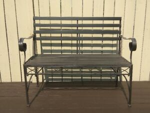 Blk Wrought Iron Folding Bench - Indoor, Outdoor, Patio, Balcony