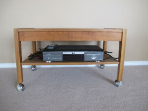 DVD player and teak tv stand