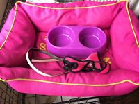 Pink small dog bed/puppy starter set
