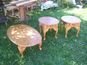 SOLID OAK COFFEE AND END TABLE SET