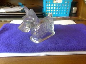 Vintage hollow glass Scottie dog candy container, 1940-1950's