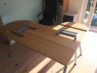 Ikea Large Corner desk with ad on extensions light oak