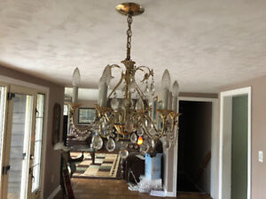 Traditional 1920,s to 1930,s crystal 6 light Chandelier for sale