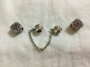 Pandora charms with safety chain