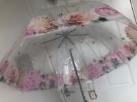 Four large umbrellas floral print wedding bridesmaids vintage shabby chic