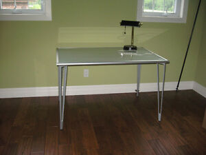 Glass and Grey Metal Desk