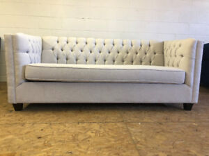LIGHT GREY-BRAND NEW CANADIAN MADE MODERN TUFTED SOFA