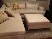 Sofa fauteuil Sectionnel cuir crème