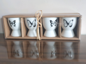 Porcelain Butterfly Egg Cups - Box of 4