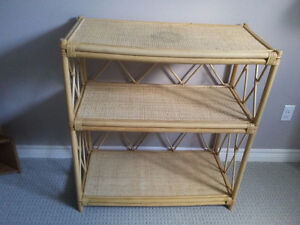 Solid bamboo three tier shelving unit bookcase London Ontario image 5