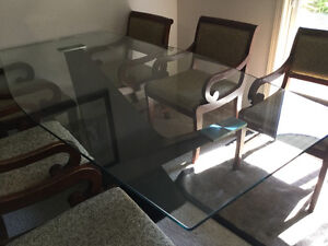 Glass and wood dining table