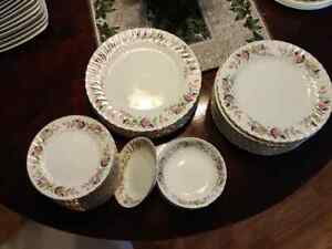 Antique pink roses dishes