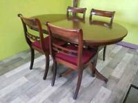 Fold Away D End Dining Table & 4 Chairs - Can Deliver For £19