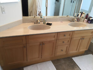 Double sink Maple cabinet, counter and facets