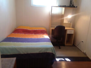 May 1st - 2 clean, furnished rooms in basement