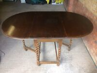 Large Turned Twist Leg Drop Leaf Dining Table