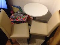 Small Round Dining Table with 2 PU Leather Chairs