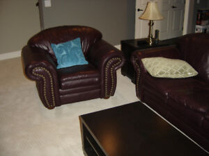 Matching Leather (Burgundy) Sofa and Chair