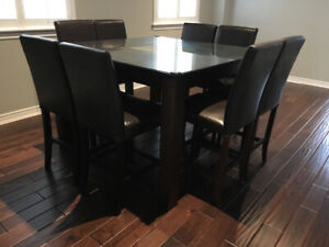 Dining pub table with glass top and 8 chairs