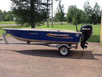 14 ft Aluminum Boat with 25 HP 4 Stroke Motor and Trailer