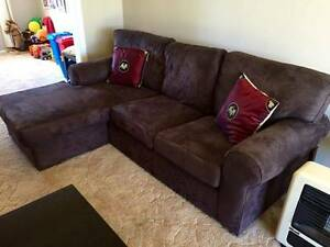 Lounge with chaise Chocolate brown, great condition Engadine Sutherland Area Preview