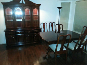 Mahogany table chairs and hutch